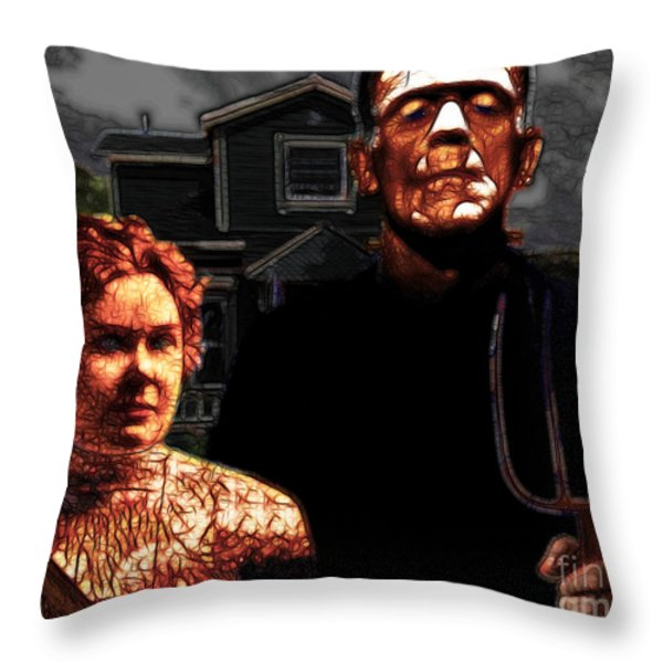 American Gothic Resurrection - Version 2 Throw Pillow by Wingsdomain Art and Photography
