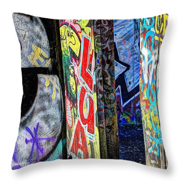 American Graffiti Throw Pillow by Terry Rowe