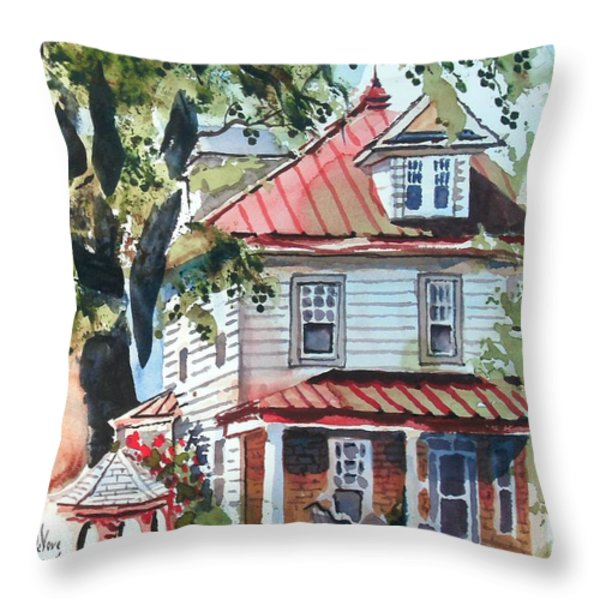 American Home with Children's Gazebo Throw Pillow by Kip DeVore