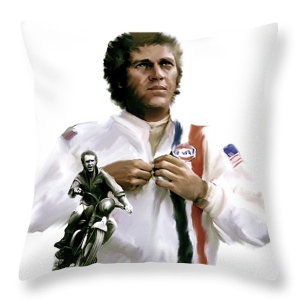 American Icon  Steve Mcqueen Throw Pillow by Iconic Images Art Gallery David Pucciarelli