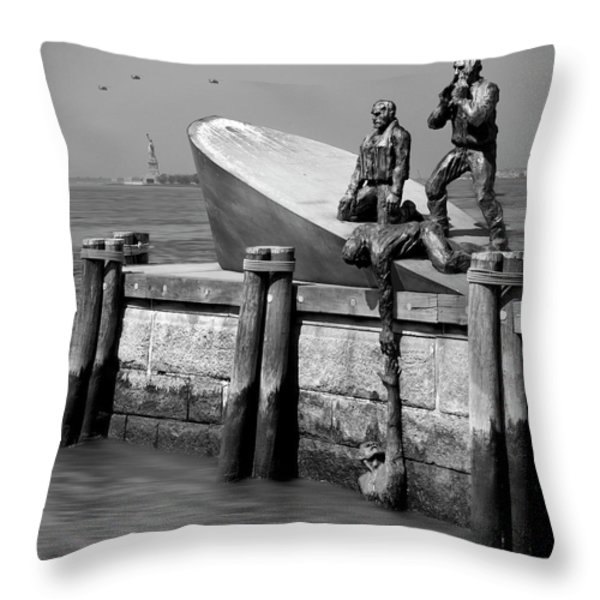 American Merchant Mariners Memorial Throw Pillow by Mike McGlothlen