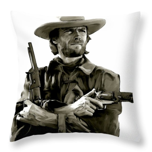 American Outlaw  Clint Eastwood Throw Pillow by Iconic Images Art Gallery David Pucciarelli
