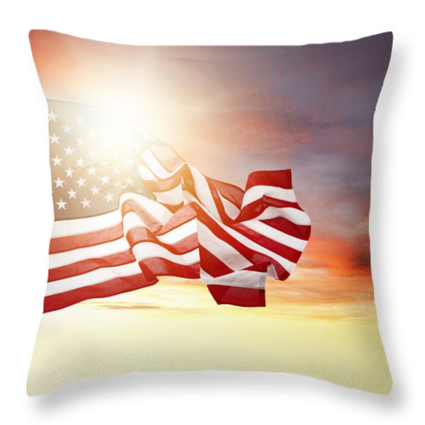 American pride Throw Pillow by Les Cunliffe