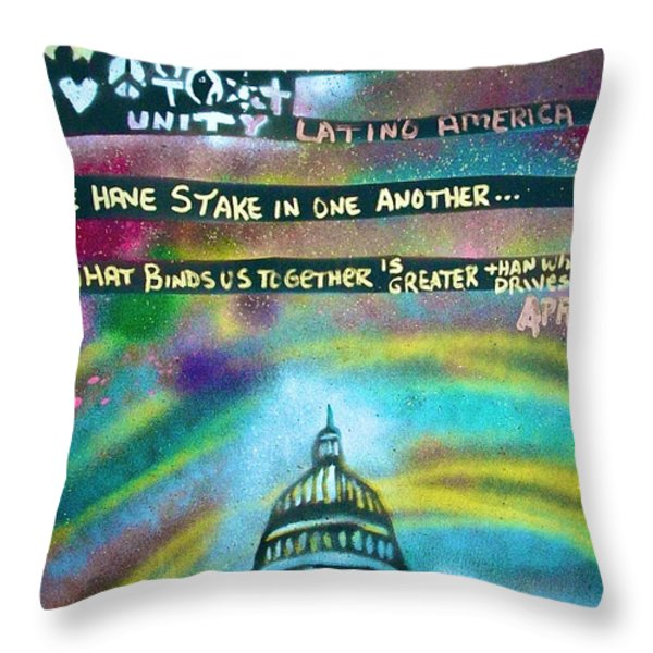 American Rainbow Throw Pillow by Tony B Conscious