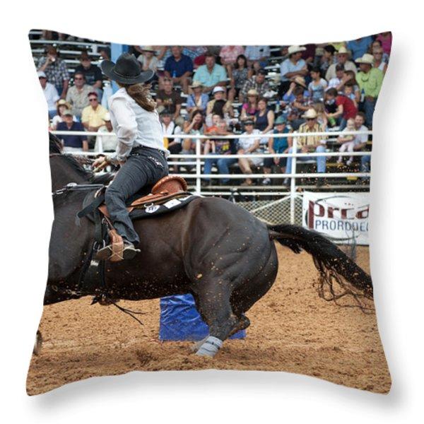 American Rodeo Female Barrel Racer Dark Horse II Throw Pillow by Sally Rockefeller