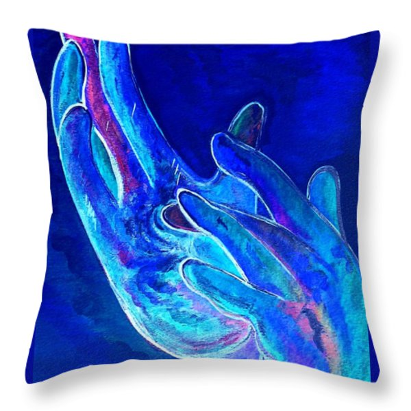 American Sign Language . . . JESUS . . . Blue Throw Pillow by Eloise Schneider