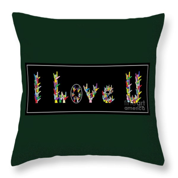 American Sign Language I Love U Throw Pillow by Eloise Schneider