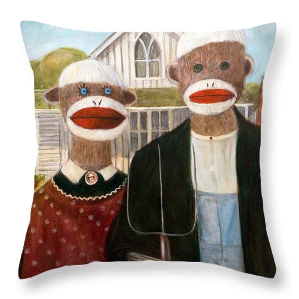 American Sock Monkeys Throw Pillow by Randy Burns