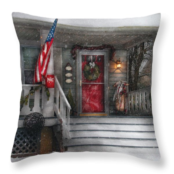 Americana - A Tribute to Rockwell - Westfield NJ Throw Pillow by Mike Savad