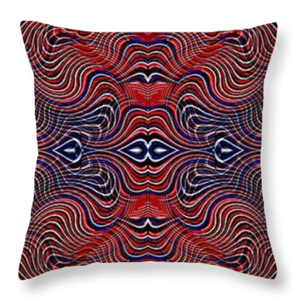 Americana Swirl Banner 4 Throw Pillow by Sarah Loft