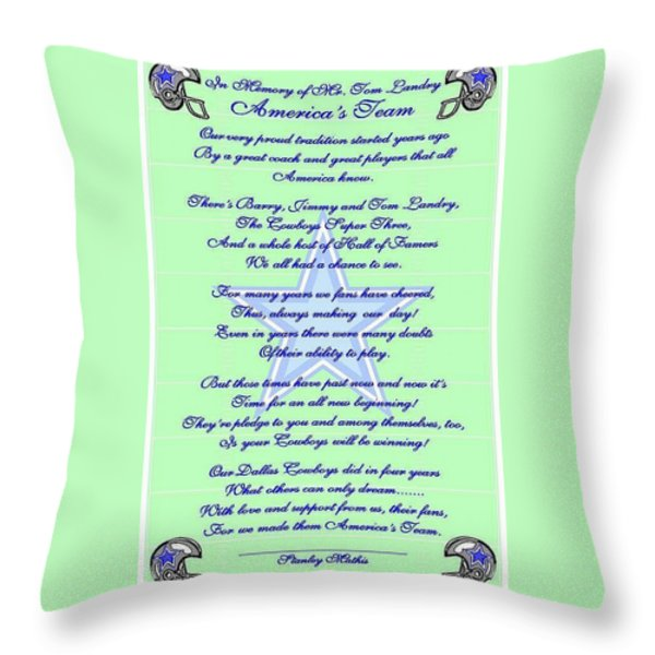 America's Team Poetry Art Poster Throw Pillow by Stanley Mathis
