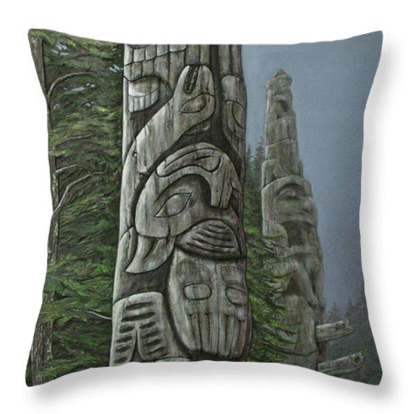 Amid The Mist - Totems Throw Pillow by Elaine Booth-Kallweit