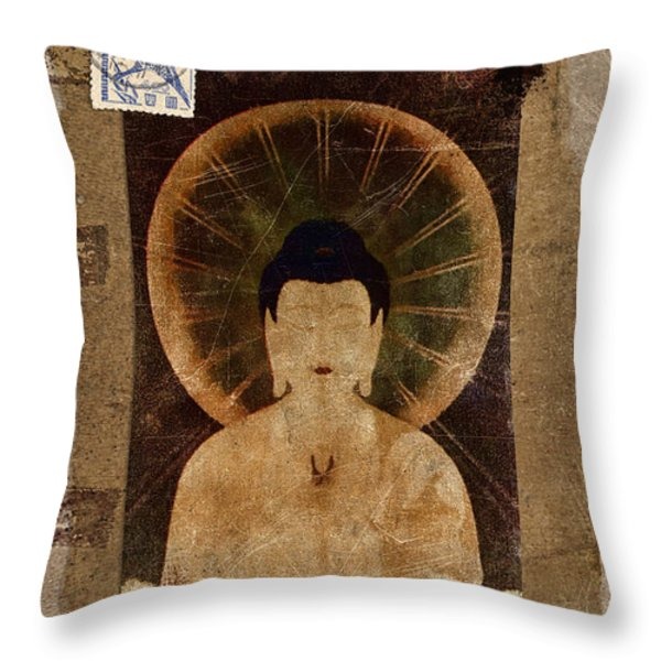 Amida Buddha Postcard Collage Throw Pillow by Carol Leigh