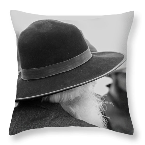 Amish Faces Throw Pillow by Mary Carol Story