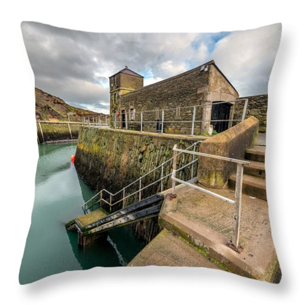 Amlwch Port Lighthouse Throw Pillow by Adrian Evans