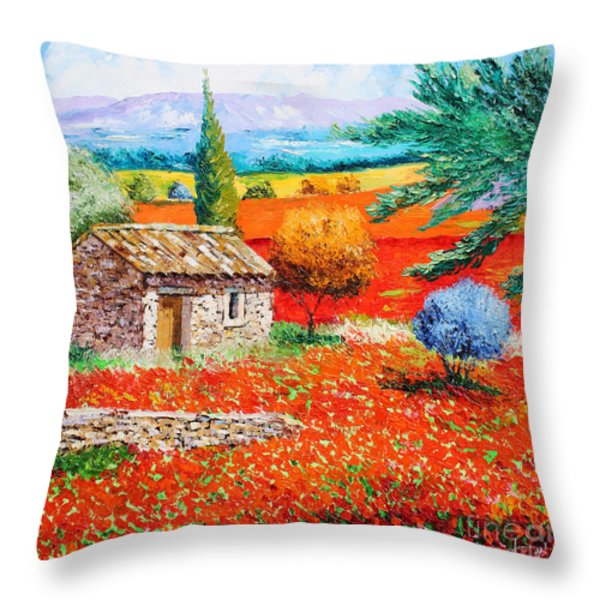 Among The Poppies Throw Pillow by Jean-Marc Janiaczyk