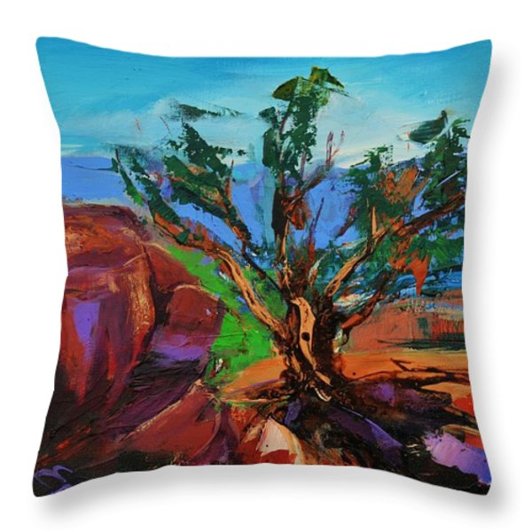 Among the Red Rocks - Arizona Throw Pillow by Elise Palmigiani