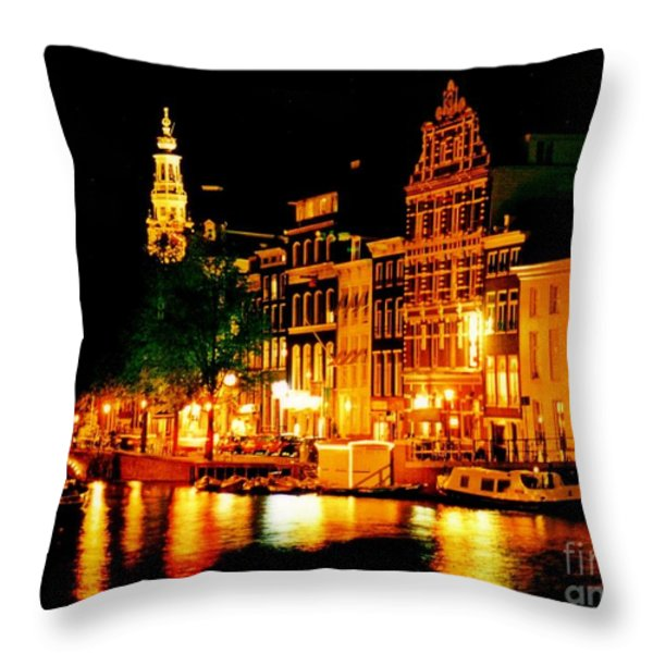Amsterdam at Night Four Throw Pillow by John Malone