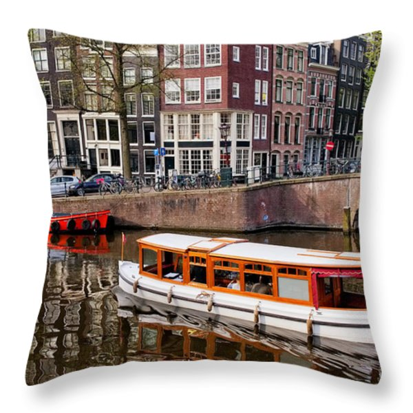 Amsterdam Canal and Houses Throw Pillow by Artur Bogacki