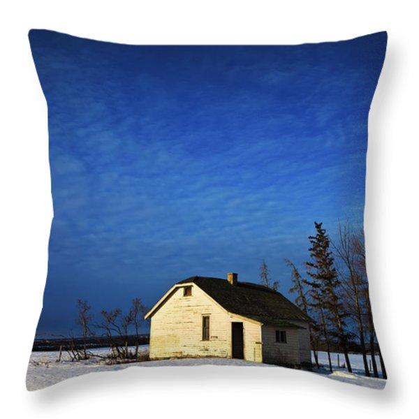 An Abandoned Homestead On A Snow Throw Pillow by Steve Nagy