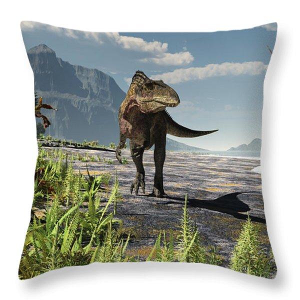 An Acrocanthosaurus Roams An Early Throw Pillow by Arthur Dorety