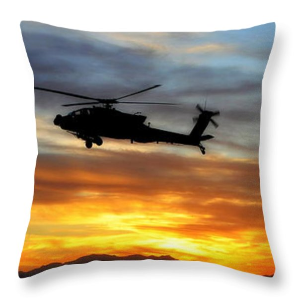An Ah-64 Apache Throw Pillow by Paul Fearn