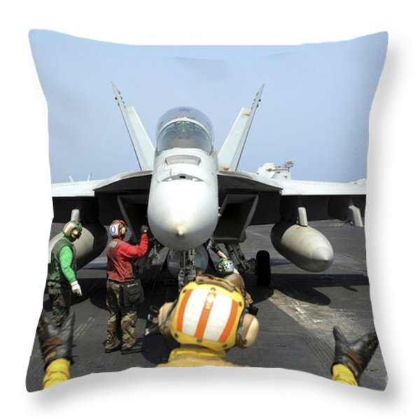 An Aircraft Director Signals Throw Pillow by Stocktrek Images