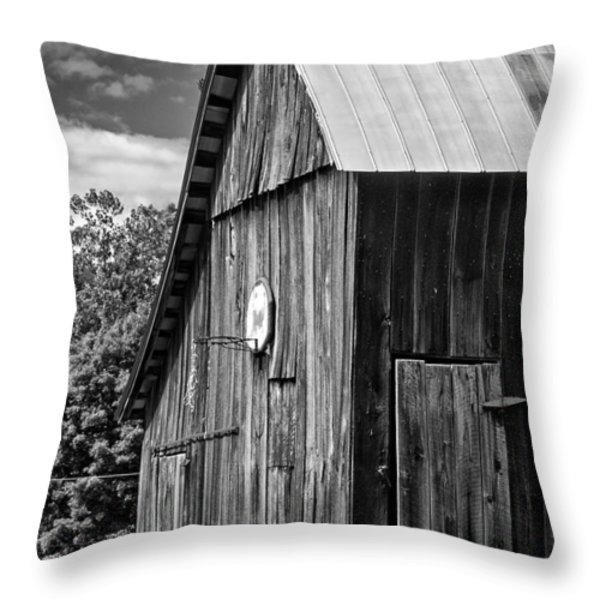 An American Barn bw Throw Pillow by Steve Harrington