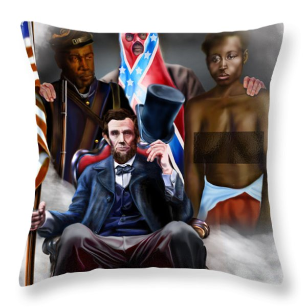 An American Family Portrait Throw Pillow by Reggie Duffie