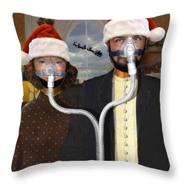 An American Gothic Sleep Apnea Merry Christmas Throw Pillow by Mike McGlothlen