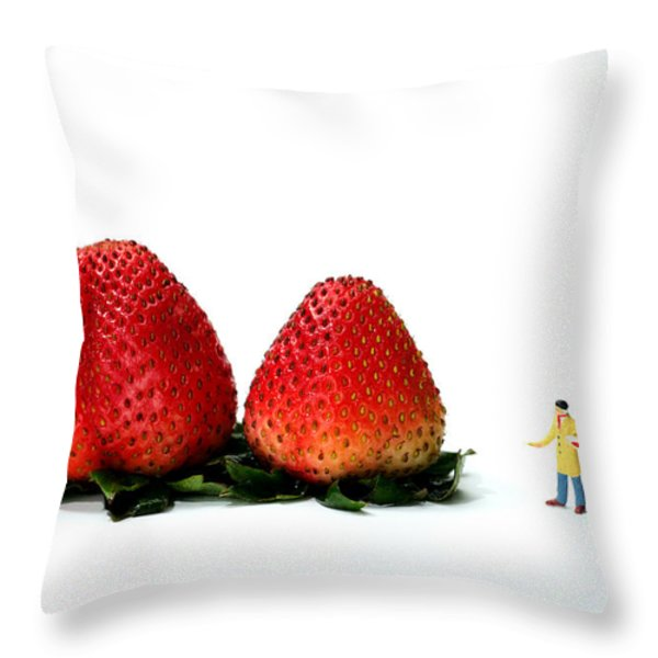 An Artist drawing strawberries Throw Pillow by Paul Ge