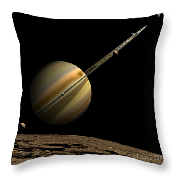 An Artists Depiction Of A Ringed Gas Throw Pillow by Marc Ward