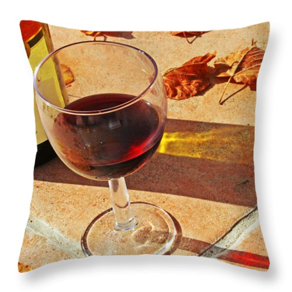 An Autumn Glass Of Red Throw Pillow by Nomad Art And  Design