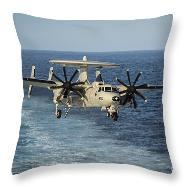 An E-2c Hawkeye Prepares To Land Throw Pillow by Stocktrek Images