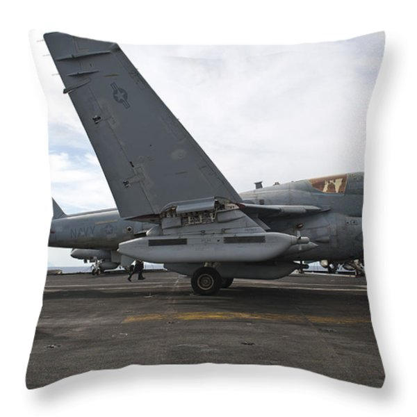 An Ea-6b Prowler Prepares To Launch Throw Pillow by Stocktrek Images