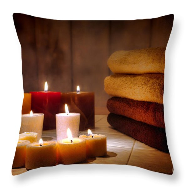 An Evening at the Spa Throw Pillow by Olivier Le Queinec
