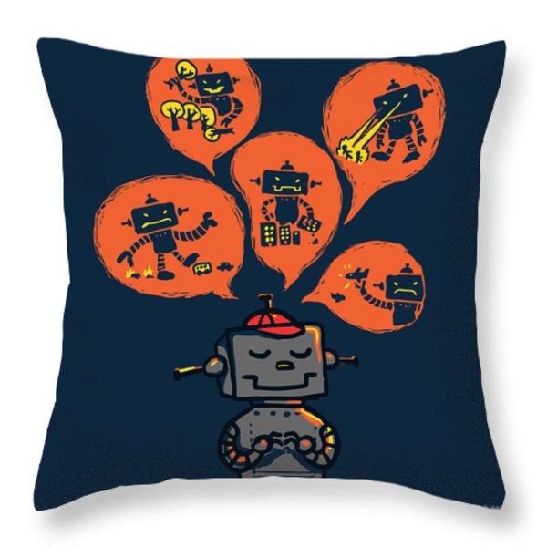 An Evil Robot Dream Throw Pillow by Budi Kwan