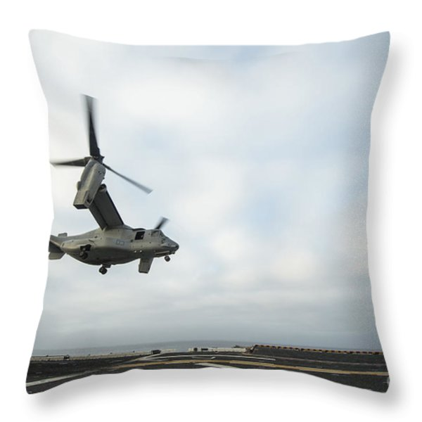 An Mv-22 Osprey Is Guided Onto Throw Pillow by Stocktrek Images