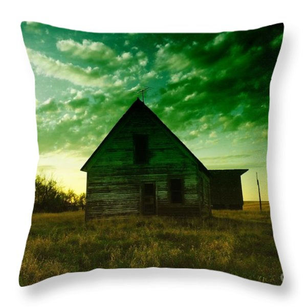 AN OLD NORTH DAKOTA FARM HOUSE Throw Pillow by Jeff  Swan
