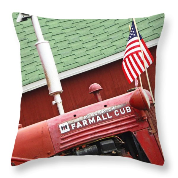 An Old Red Tractor Throw Pillow by Michael Allen