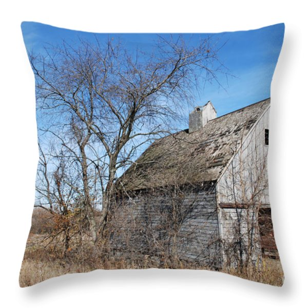 An Old Rundown Abandoned Wooden Barn Under A Blue Sky In Midwestern Illinois Usa Throw Pillow by Paul Velgos