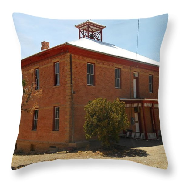 An Old School In White Oaks New Mexico Throw Pillow by Jeff Swan
