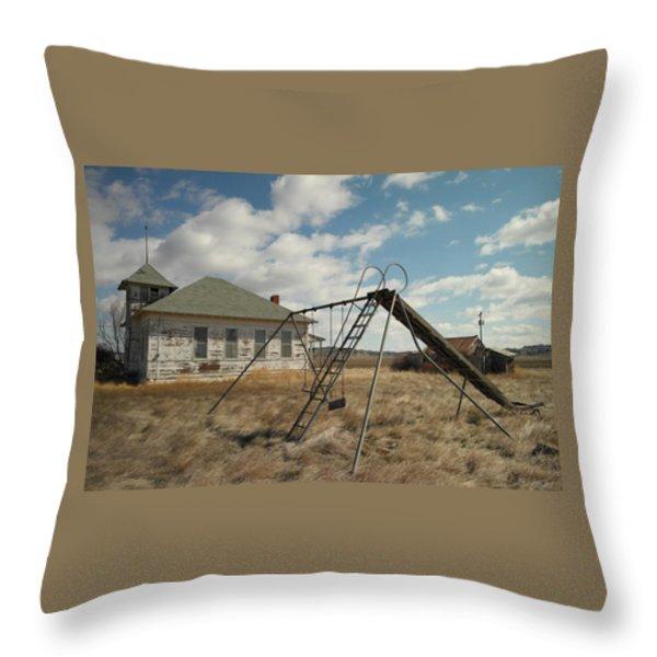 An Old School Near Miles City Montana Throw Pillow by Jeff Swan