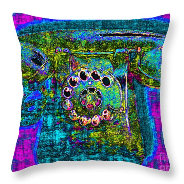 Analog A-phone - 2013-0121 - V3 Throw Pillow by Wingsdomain Art and Photography