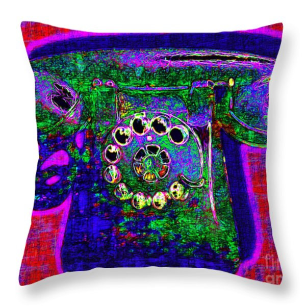 Analog A-phone - 2013-0121 - V4 Throw Pillow by Wingsdomain Art and Photography