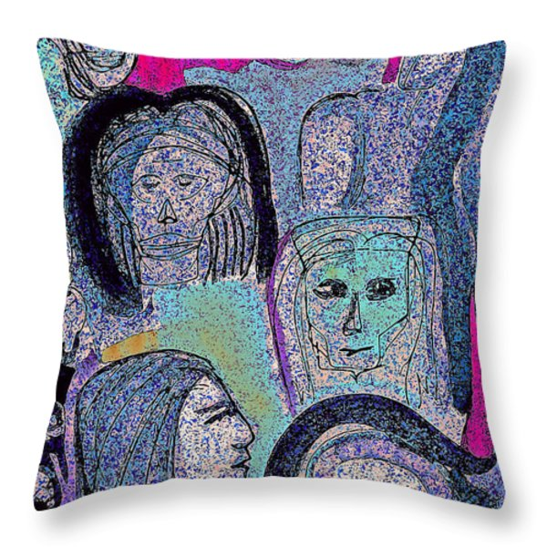 Ancestral Cave Throw Pillow by First Star Art