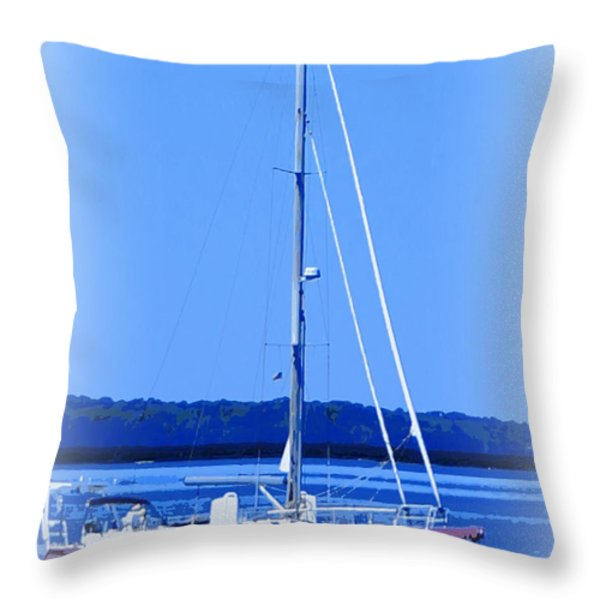 Anchored in the Bay Throw Pillow by Laurie Pike