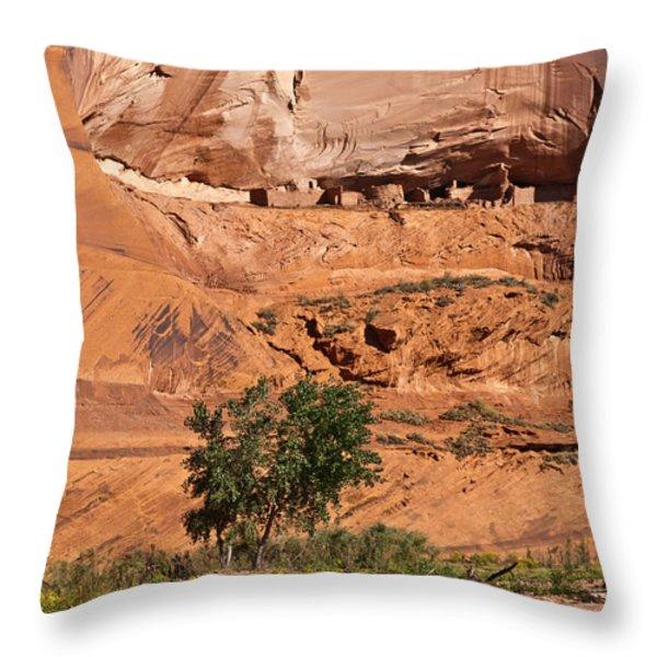 Ancient Anasazi Pueblo Canyon Dechelly Throw Pillow by Bob and Nadine Johnston