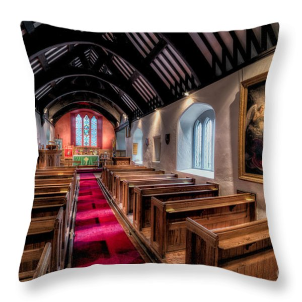 Ancient Welsh Church Throw Pillow by Adrian Evans