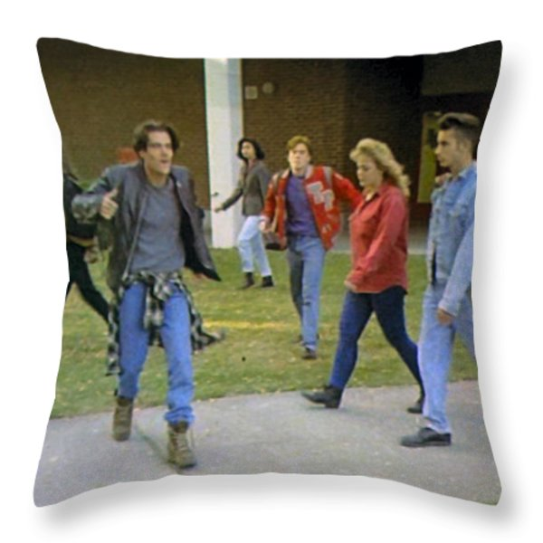 And I Looked Down At My Shoes Throw Pillow by Luis Ludzska